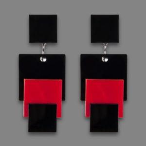 Orecchini MALEVIC 2 rosso e nero