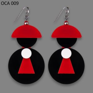 Orecchini Personaggi- PRETE rosso e nero codice