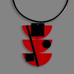 Ciondolo MALEVIC rosso e nero