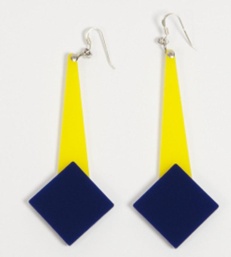 Orecchini BALLA 1 giallo e blu