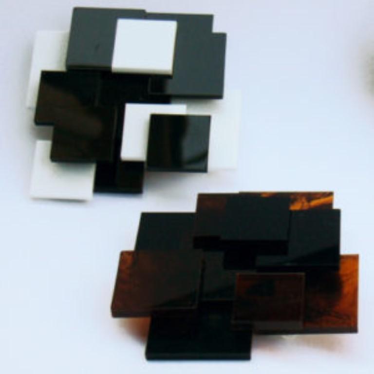Spilla MUNARI bianco-nero e nero-tartaruga
